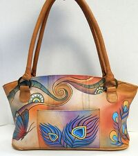 Anuschka Hand Painted Leather Shoulder Bag Butterflies Peacock Feather