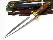 "WOOD Handle w/ Guard 12.5"" COMMANDO Straight Fixed DAGGER Knife + Sheath! PA3106"
