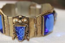SIGNED VINTAGE MEXICO STERLING SILVER BLUE AZTEC GLASS BRACELET BEVELED GLASS