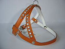 HUNDEGESCHIRR - Geschirr, Brustumfang 28-36cm, Echt LEDER +Strass,Neu, Orange