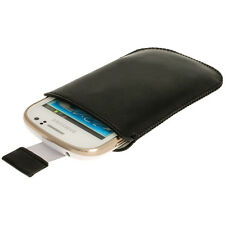 Schwarz Leder Beutel Tasche Etui Case für Samsung Galaxy Fame S6810 Smartphone