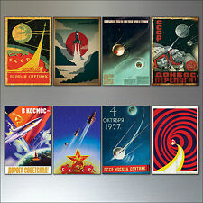 Vintage retro Sputnik Atomic soviet space race  poster fridge magnets set of 8