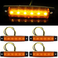 4x Amber 6LED Side Marker Indicators Lights Lamp For Truck Trailer Lorry RV 12V