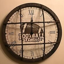 Retro American Football Clock, Made From Distressed Metal, Really Unusual Item
