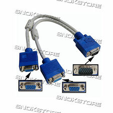 CABLE CONVERTITORE VGA SVGA HDB15 MALE TO 2 FEMALE SPLITTER CAVO VIDEO MONITOR