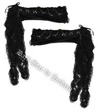 Ladies Black Gothic Victorian Steampunk Velvet And Lace Elbow Length Gloves