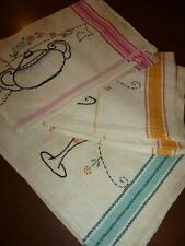 3 Vintage Hand Embroidered Cotton LINEN TOWEL LOT Kitchen Dish Tea Stripes