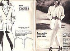 PATRON DE COUTURE 2 versions d'une veste grand confort  taille  36 à 42