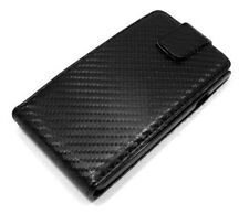 Carbon Fibre Vertical Black Flip Case for Samsung i9100 Galaxy S II - In Stock