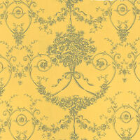 Soft Cotton 100% Satin Weave Bedding Fabric Dandy Antique Damask Yellow 44'W BTY