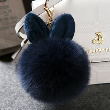 Women Girls Handbag Charm Key Ring Faux Fox Fur PomPom Phone Car Keychains Navy