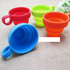 Portable Silicone Collapsible Folding Cup W Grip + Cap Lid Telescopic Toiletries