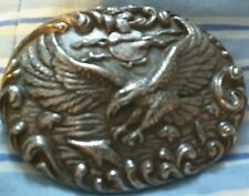 Raised Swooping Eagle, Metal Oval Belt Buckle, Used