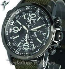 New SEIKO PROSPEX SOLAR ION BLACK CASE CHRONO ALARM Fabric Buckle Strap SSC295P1