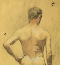 Acte FRENCH NUDE 1900 art nouveau Male Académie dessin fin de sicle France