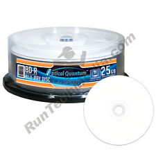 50 Optical Quantum 4x 25GB Blue Blu-ray BD-R White Inkjet HUB Printable Discs