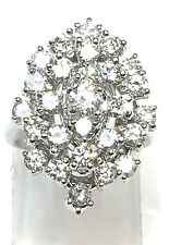 14k Solid White Gold 2.5 TCW Cluster Diamond Ring. Size 4.5