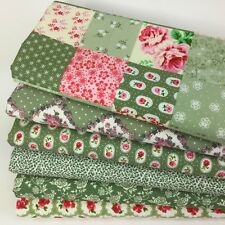 Bundle 6 fat quarters pretty patchwork green & florals 100 % cotton fabric