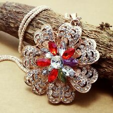 Fashion gold-plated Crystal flower pendant Crystal Necklace Sweater chain JJ242