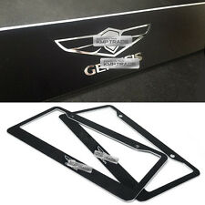 License Plate Aluminum Metal Black Frame Chrome Logo 2P for HYUNDAI Genesis