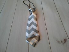 boys girls infant toddler child necktie chevron grey photo prop wedding