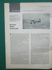 7/1962 ARTICLE 1 PAGE AVIATION GENERALE AVION SCINTEX SUPER EMERAUDE EN ANGLAIS