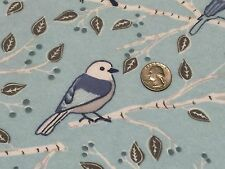 Fabric Birds Blue in Branches on Blue Flannel by the 1/4 yard BIN