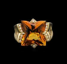 7.20 ctw Citrine and Diamond Ring - 14KT Yellow Gold Lot 203