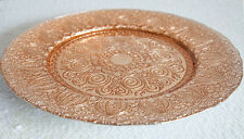 VINTAGE ROSE GOLD GLASS CHARGER PLATE XMAS EVENTS WEDDINGS 32CM DIAMETER
