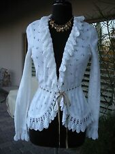 CUTE!  NWT $152 DESIGN HISTORY White Ruffle Bow Cardigan Jacket Sweater Top  M