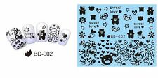 Valentines Nail Art Stickers Water Decals Sweet Love Hearts Teddy Bear (BD02)
