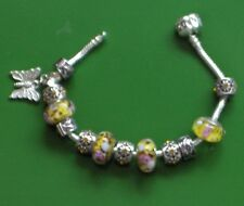"7.5"" SOLID 925 SILVER EURO BRACELET SUMMER  YELLOW BUTTERFLY CHARMS & STOPPERS"