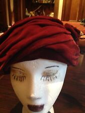 Nemesis Vintage Antique Burgundy Velvet Puckered Cloche Art Deco Hat