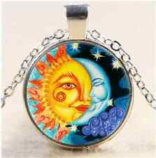 Sun And Moon Photo Cabochon Glass Tibet Silver Chain Pendant Necklace#A23