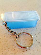Tupperware Key Chain Aqua Blue Fridge Smart Keychain Rare New White Lid