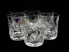 Set of 6 Russian Cut Crystal Rocks Glass 11 oz. for Scotch Whiskey Hand Made