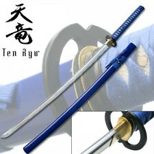 Katana Steel Sword 39 1/2 Inch Blue Laced Wrapped Grip W/Royal Blue Sheath