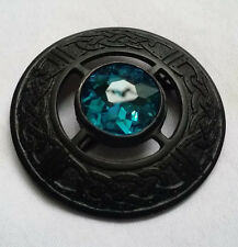 "Men's Scottish Fly Plaid Brooch Sky Blue Stone Black Finish 3""/Celtic Brooches"