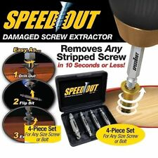 4PCS Speed Out Screw Extractor Drill Bits Tool Set Broken Damaged Bolt Remover