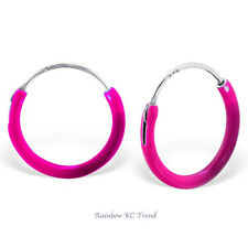 925 Sterling Silver Hot Pink Sleeper Hoop Earrings Kids Girls 12mm Party Gift