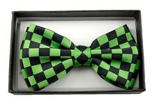 UNISEX ADULT KID GREEN&BLACK CHECKER CHECKERED TUXEDO ADJ STRAP BOW TIE-NEW