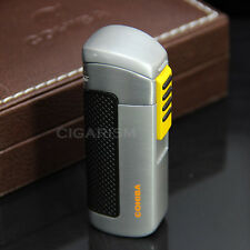 COHIBA Silver&Yellow Plastic Wrapped 3 Torch Jet Flame Cigar Cigarette Lighter