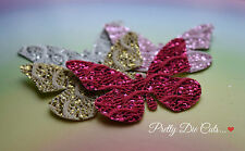 Lace Glitter Fabric Butterflies (4) Die Cut Craft Embellishments