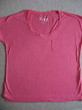 NEW WOMEN'S T SHIRT TOP CERISE PINK SLUB EFFECT SIZE ES 48 D 46 UK 20