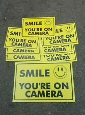 VIDEO SURVEILLANCE Security Decal  Warning Sticker (smile you're )set of 8 pcs .