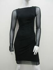 Jean Paul GAULTIER SOLEIL Sexy Black Stretch Knit Sheer Sleeve Dress Size M