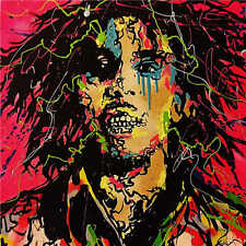 """New Design Alec Monopoly Handcraft Oil Painting on Canvas Bob Marley 28x28"""""""
