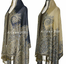 Triple Layer Pashmina & Silk Paisley Shawl-Navy #D