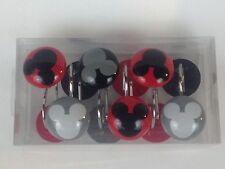 NEW Mickey Mouse Clubhouse Chevron Shower Curtain Hooks 12 SET Red Black Gray