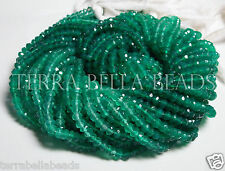 13 inch strand shaded GREEN ONYX faceted gem stone rondelle beads 3.5mm - 4mm